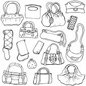Women's handbags. Hand drawn Vector Set 2