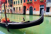 stock photo of gondola  - Gondola close up in the canals of Venice - JPG