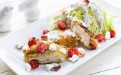 picture of iceberg lettuce  - Salad of iceberg lettuce wedge with breaded chicken - JPG