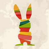 foto of dust bunny  - Transparent multicolored Easter bunny over grunge background - JPG