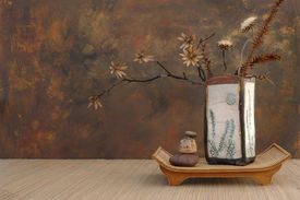 pic of raku  - zen still life with raku vase - JPG