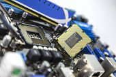 stock photo of processor socket  - processor and RAM on the motherboard with socket prepared for installation