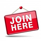 foto of joining  - Join us here and now banner or registration for membership icon or sign - JPG