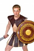 stock photo of perseus  - a young male warrior with a shield - JPG