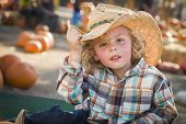 picture of riding-crop  - Adorable Little Boy Wearing Cowboy Hat at Pumpkin Patch Farm - JPG