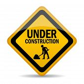stock photo of reconstruction  - Under construction sign vector illustration isolated on white background - JPG