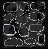 image of crunch  - vector hand drawn speech bubbles on chalkboard - JPG
