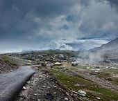 stock photo of himachal pradesh  - Road in Himalayas on top of  Rohtang La pass - JPG
