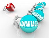 picture of disadvantage  - A team pushing or rolling balls marked Advantage winning a race vs a single man or person trying to push a cube with the word Disadvantage - JPG