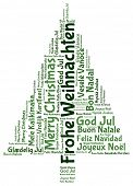 stock photo of weihnachten  - Frohe Weihnachten and Merry christmas 2014 tree word tag cloud - JPG