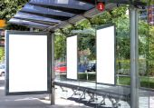 image of bus-shelter  - A Big Blank Bus Stop Advertisement Space - JPG