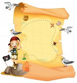 foto of pirate girl  - Illustration of a treasure map and a young girl holding a telescope on a white background - JPG