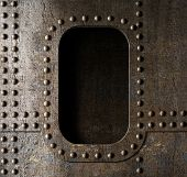 picture of battleship  - old metal porthole background - JPG