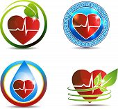 stock photo of heartbeat  - Abstract human anatomy of heart and heart beats beautiful symbol set - JPG