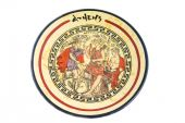 foto of artemis  - Modern greek souvenir plate with ancient images of Artemis Apollo and Hermes - JPG