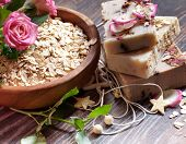 image of salt-bowl  - Spa Settings with roses and salt in bowl  - JPG