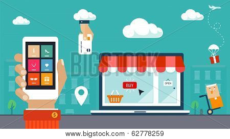Flat design vector illustration. E-commerce, shopping & delivery poster