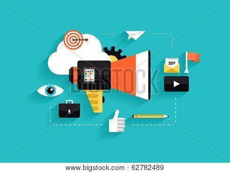 Social Media Marketing Flat Illustration poster
