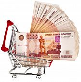 One Million Russian  Banknotes Rubles in  Shopping basket cart - isolated on white background