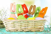 pic of ear candle  - Funny handmade Easter rabbits in wicker basket - JPG