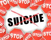 stock photo of suicide  - Vector illustration of stop suicide concept background - JPG