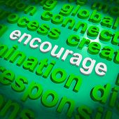 image of encouraging  - Encourage Word Cloud Showing Promote Boost Encouraged - JPG