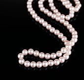 stock photo of mother-of-pearl  - Beautiful pearls on black background - JPG