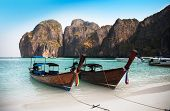 Maya Bay Or Ao Maya, Krabi, The Most Beautiful Beach In Thailand.