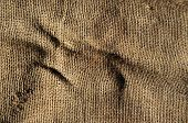 closeup of an old and wrinkled burlap fabric