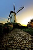 stock photo of damme  - The old windmill at sunset in Damme Belgium - JPG