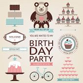 picture of food pyramid  - Vintage Birthday icons collection - JPG