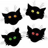 Four Cat Head Black Silhouettes