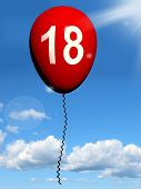 18 Balloon Represents Eighteenth Happy Birthday Celebration
