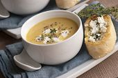 pic of butternut  - Freshly made butternut squash soup in a bowl - JPG