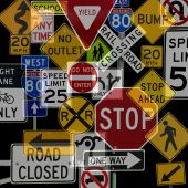 stock photo of traffic rules  - Montage of Numerous Traffic Control Signs and Signals - JPG