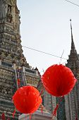 Red Lanterns In Front Of Wat Arun Temple