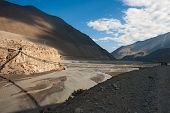 foto of kali  - The valley of the river Kali Gandaki and suspension bridge Nepal - JPG