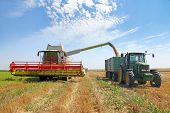 stock photo of combine  - Combine unloading freshly harvested wheat grain into tractor  - JPG