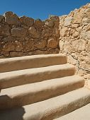 stock photo of masada  - ancient sinogoga in fortress Masada - JPG