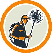 picture of sweeper  - Illustration of a chimney sweep holding sweeper and rope viewed from side set inside circle on isolated background done in retro style - JPG