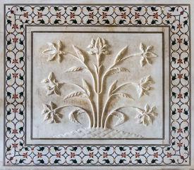 foto of mumtaj  - Exterior decoration of the Taj Mahal Agra India - JPG