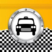 picture of ripped  - Abstract taxi background with ripped paper and metallic icon - JPG