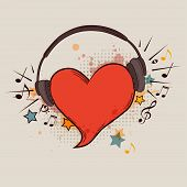 stock photo of heart sounds  - Musical vector background with red heart and headphones - JPG