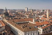 stock photo of turin  - A panoramic view of the roofs of Turin - JPG