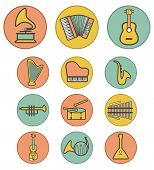 stock photo of tuning fork  - Vector full color musical instruments icons set on colorful background - JPG