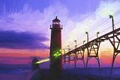 stock photo of impressionist  - Impressionist painting of a sunset at Grand Haven Lighthouse in Grand Haven Michigan USA - JPG