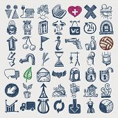 stock photo of guillotine  - 49 hand drawing doodle icon set - JPG
