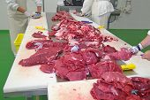 image of slaughterhouse  - Butchers cutting slices of raw beef meat in butchery - JPG