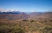 image of parador  - Gran Canaria Caldera de Tejeda Roque Nublo Roque Bentayga and Teide visible  - JPG