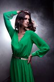 picture of fumes  - Studio portrait of young beautiful brunette woman with brown curly long hair in green dress on fume background - JPG